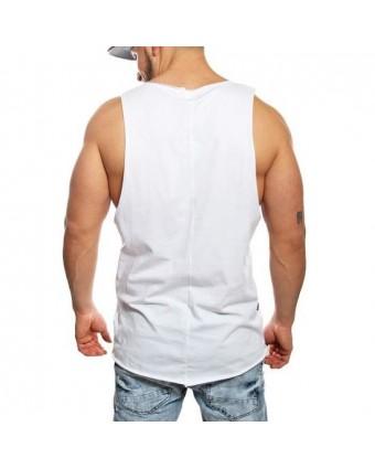 f41e8aa481769 Débardeur large homme blanc imprimé et troué